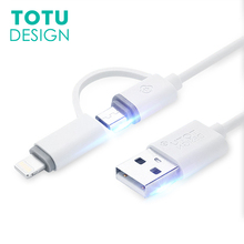 TOTU 1.2m USB mobile phone cable 2 in 1 micro charging for iphone 7 6 S Plus 5S 5 SE Huawei Samsung