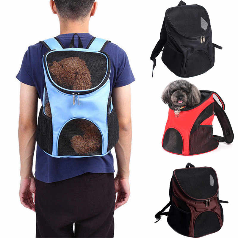 Tas Bahu Luar Ruangan Anjing Tas Ransel Perjalanan Hewan Peliharaan Kucing Anjing Pembawa Mesh Windows Bernapas Mesh Hewan Peliharaan Carrier Comfort Portable