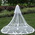 Real Pictures 2T Lace Flowers Wedding Veil With Pencil Edge Cathedral Long Bridal Veil With Comb Wedding Accessories WB23