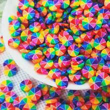 5 мм круглая Радужная цветная полимерная глина, искусственные конфеты, полимерная глина для вечерние, конфетти украшения   Наполнители для с...