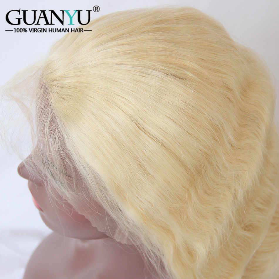 Guanyuhair #613 блонд полные парики шнурка индийские Remy человеческие волосы волнистые предварительно сорванные бесклеевые 150% плотность с волосами младенца