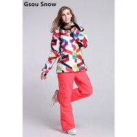 Gsou snow mát mùa đông phụ nữ áo khoác thương hiệu trượt tuyết mặc outlet trượt tuyết nữ áo jacket và quần