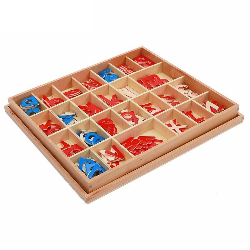 1 satz Baby Spielzeug Montessori Holz Kleine Bewegliche Alphabet Rot & Blau mit Box Vorschule Früh Kinder - 2