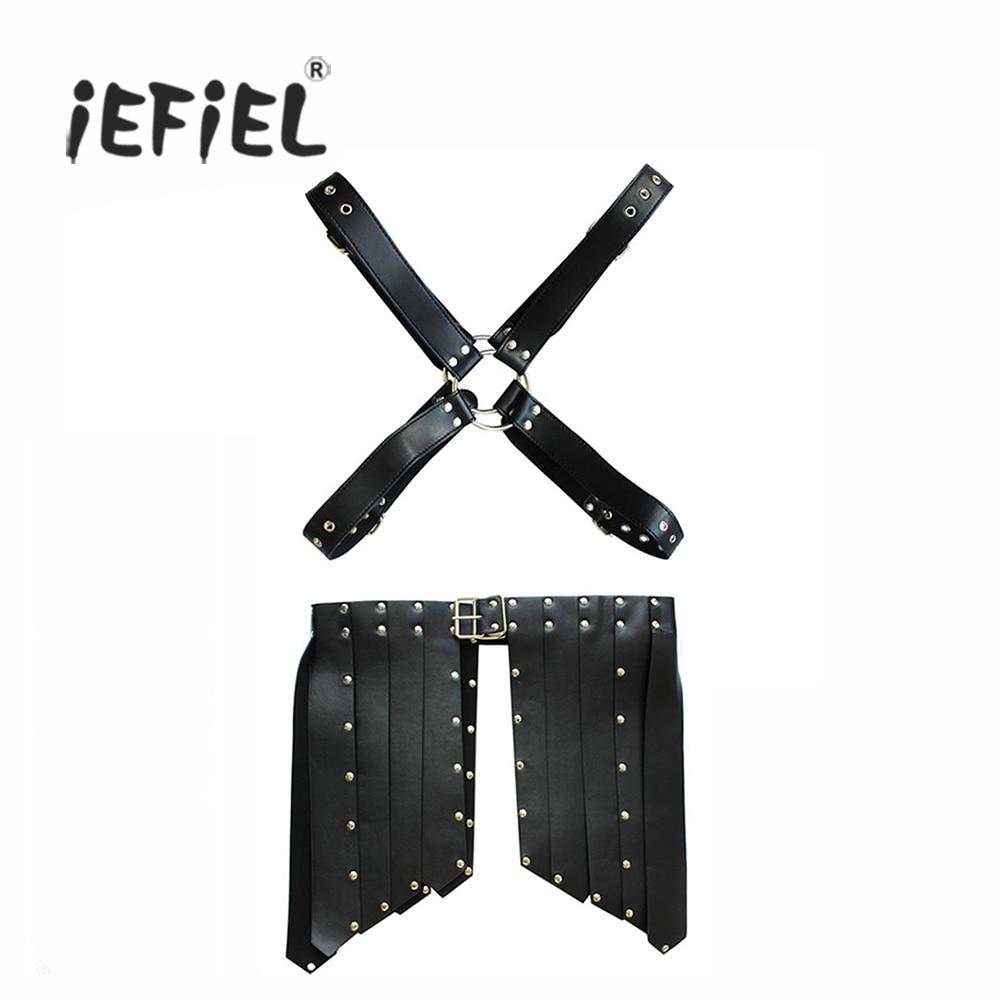 iEFiEL Brand Hot Sexy Mens PU Leather Chest Shorts Bondage Restraint for Men's Body Suit Set Lingerie Wetlook Costumes Clubwear