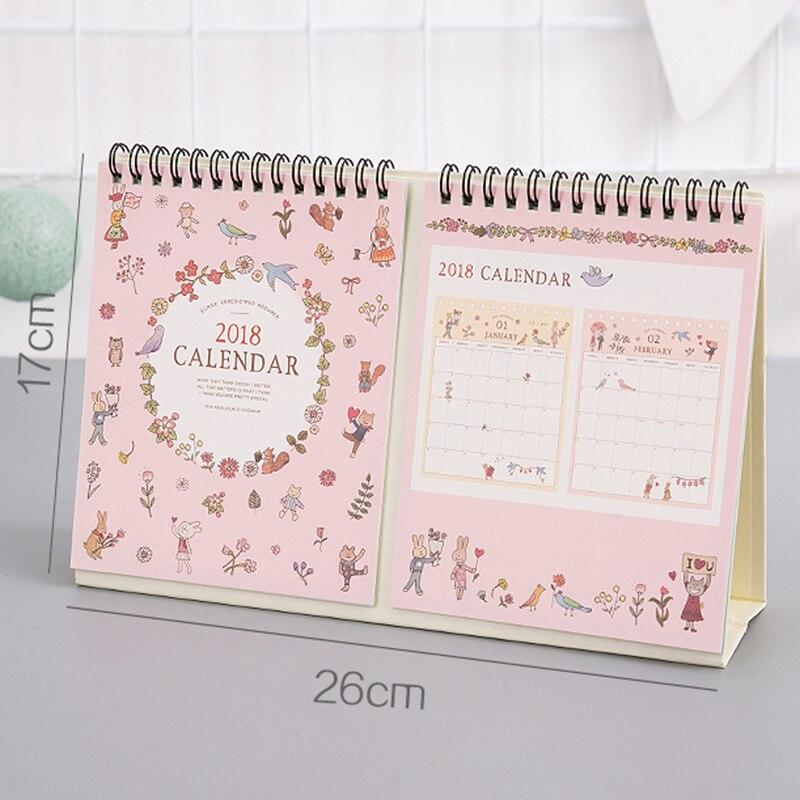 2018 Calendar Notepad Cute Cartoon Desktop Calendar Simple Creative Small Fresh Plan Table Calendars Desk Calendar Office17*26cm