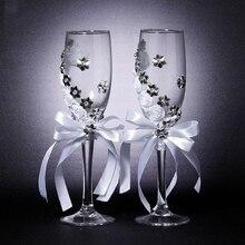 Набор из 2 предметов, свадебное стекло, креативные серебряные цветы, хрустальные свадебные бокалы для шампанского, бокалы для красного вина, бокалы, свадебные украшения