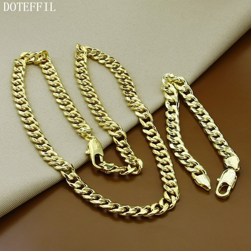 8mm Gold Chain Bracelet Necklace Sets Simple Generous Jewelry For Men Brazilian Style Necklace Bracelet Jewelry thick gold chain set wholesale men s jewelry white black crystal buckle necklace bracelet stainless steel jewelry sets