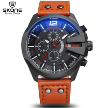 SKONE Chronograph Sport Watches Men Luxury Top Brand Outdoor Casual Leather Strap Watch 6 Hands Quartz Military Wristwatch Clock
