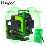 Huepar 12 Lines 3D Cross Line Laser Level Self Leveling 360 Degree Vertical & Horizontal Cross Green Beam Line USB Charging