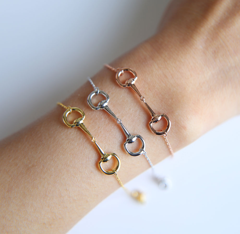 Real 100% 925 sterling silver Horse lover jewelry three color snaffle bit pendant silver women bracelet 2019 New Charm Bracelet(China)