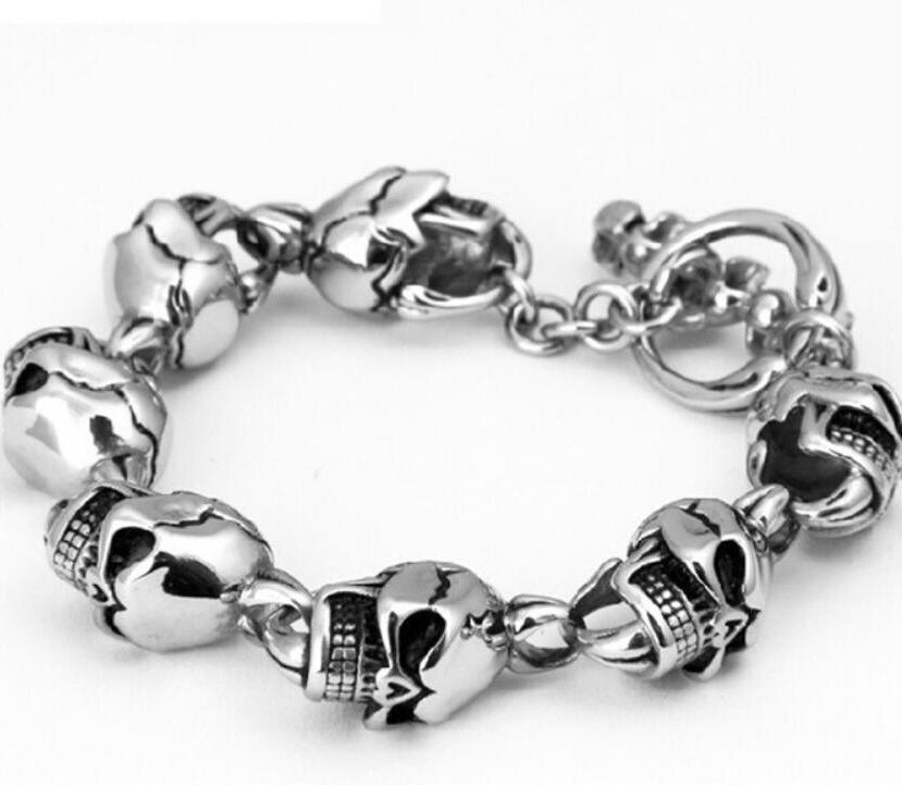 S925 sterling silver personalized jewelry retro Thai silver skull men's bracelet (FGL) wholesale s925 sterling silver personalized jewelry retro thai silver male smooth side buckle bracelet