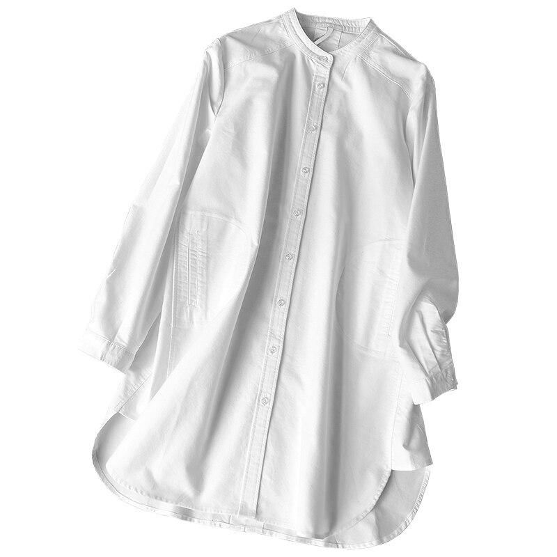 Été Nouveau Outwear Solide Manteau Coton De 2019 White Blanc Bureau Lâche Et À Tops Blouse Femmes Chemises Élégante Longues Manches Dame d5qqTU
