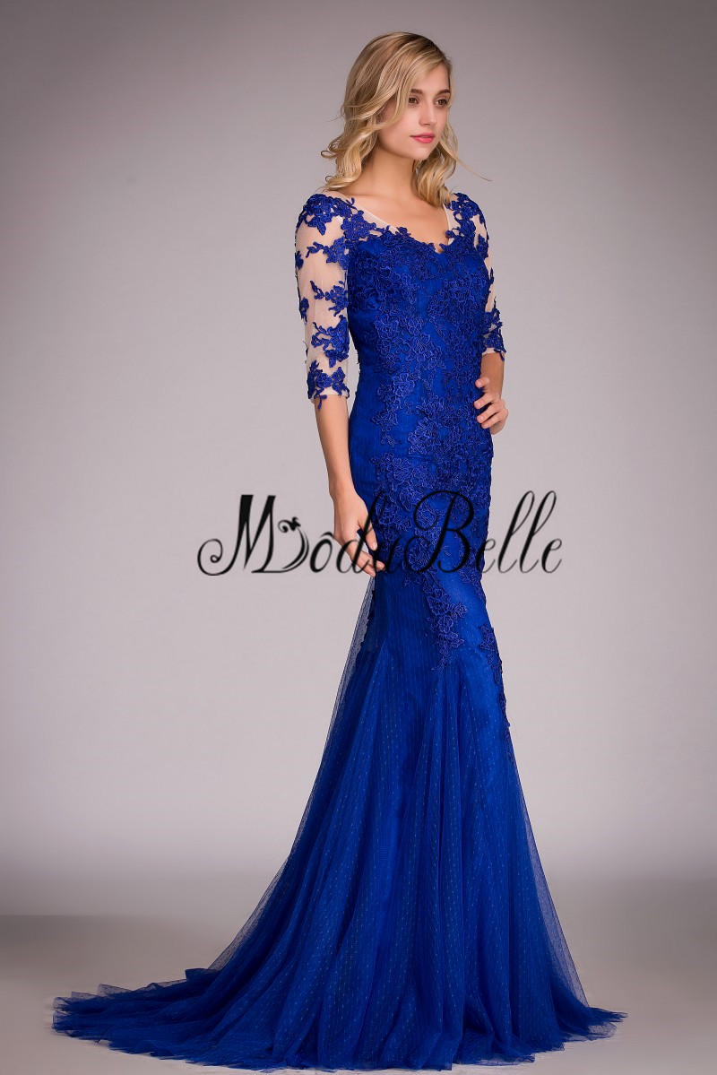 Bien-aimé Royal Blue Lace Evening Dress Real Picture 2016 Mermaid  BM54