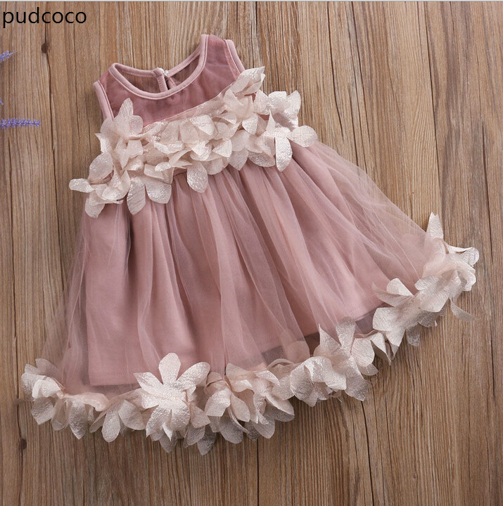 Cute Kids Girls Princess Pink White Dresses Pageant Toddler Kids Baby Girl Sleeveless Flower Tulle Petal Party Ball Gown Dresses
