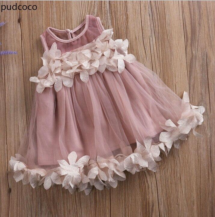 Nette Kinder Mädchen Prinzessin Rosa Weiß Kleider Pageant Kleinkind Kinder Baby Mädchen Sleeveless Blume Tüll Blütenblatt Partei Ballkleid Kleider
