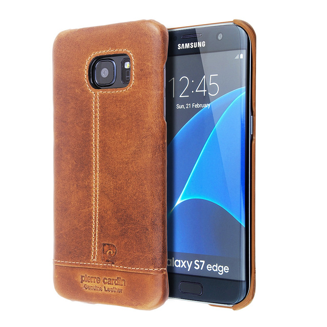 timeless design da0c0 27bab US $22.99  Original Pierre Cardin For Galaxy S7 Edge Case Luxury Brand  Genuine Leather Case Hard Back Cover Case for Samsung Galaxy S7 Edge-in  Fitted ...
