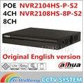 Englsih versão 4ch 8ch nvr poe dahua original nvr2104hs-p-s2/nvr2108hs-8p-s2 até 6mp gravação onvif network video recorder