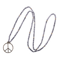 Gray Stone Beaded Vintage Handmade Jewelry Accessories Metal Tree Round Pendant Long Necklaces Pendants Woman