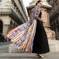 2016 Summer Striped New Fashion Designer Thin Cardigan Long Sleeve Single Breasted Maxi Long Trench Coat