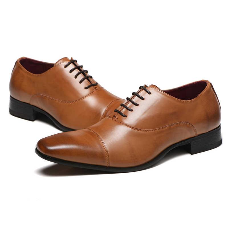Merkmak erkek ayakkabısı 2020 yeni bahar elbise ayakkabı yüksek kaliteli iş PU deri dantel-up ayakkabı resmi ayakkabı düğün için parti