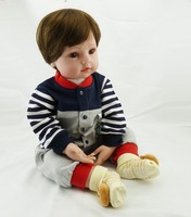 DOLLHOUSE 22in 55cmThe new holiday gifts simulation baby boy with cotton body and lovely clothes silicone reborn baby dolls