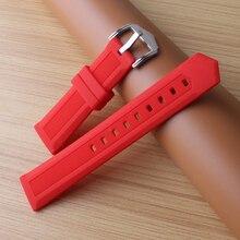 Новые булавки пряжки мужские ремешки для часов силиконовый резиновый водонепроницаемый дайверский ремешок для часов 12 мм 14 мм 16 мм 18 мм 20 мм 22 мм 24 мм красный оранжевый