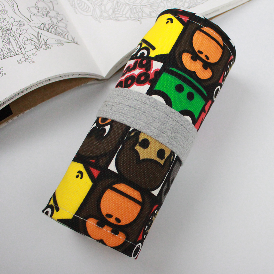 Cartoon Pencil Case Pencil Bag Holder Storage Pouch For Painting School 36 48 72 Holes Vintage Portable Canvas Roll Pencil Bag in Storage Bags from Home Garden