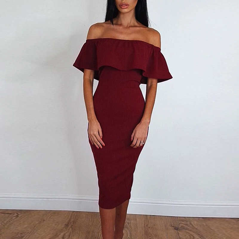 Wine Red Dress Women Bodycon Summer Style Sexy Short Sleeve Off Shoulder  Casual Party Pencil Dress e4adc6e3555c