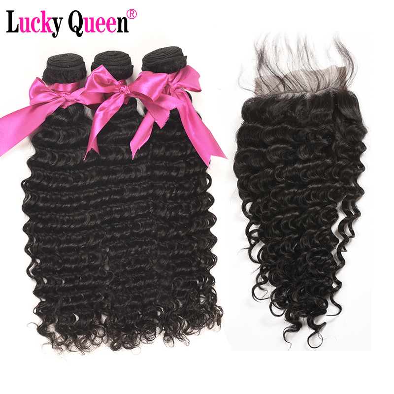 Lucky Queen Hair Products Deep Wave Brazilian Hair Weave 3 Pieces Human Hair bundles With Closure Non-Remy Hair Extensions