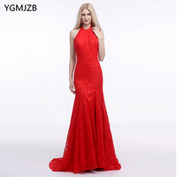 Red Lace Evening Dresses Long 2017 New Arrival Mermaid Halter Sleeveless Sweep Train Prom Evening Gown