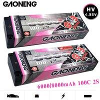 Gaoneng GNB 6000/8000mAh 100C 2S 7.6V HV 4.35V Rechargeable Lipo Battery 5.0mm Banana Plug T Plug for 1:10 RC Car Boat