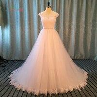 Dream Angel Vestido De Noiva Lace Princess Wedding Dresses 2017 Backless Appliques Beaded Sashes A Line