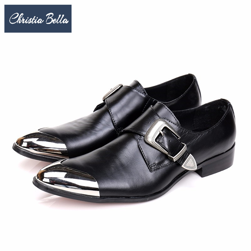 Christia Bella Fashion Genuine Leather Men Monk Strap Shoes Black Wedding Party Dress Shoes Business Buckle Men Oxford Shoes