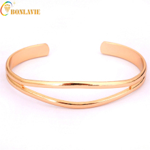 2017 Sale Bangles Customized Jewelry Engraving Alloy Men Women Jewelry Cuff Pure Gold Color Open Bracelet Women