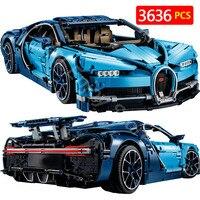 Создатель Совместимость с Legoingly техника BugattiED Хирон Technik серии Блоки Хирон синий гоночный автомобиль кирпичи малыш игрушки 38036