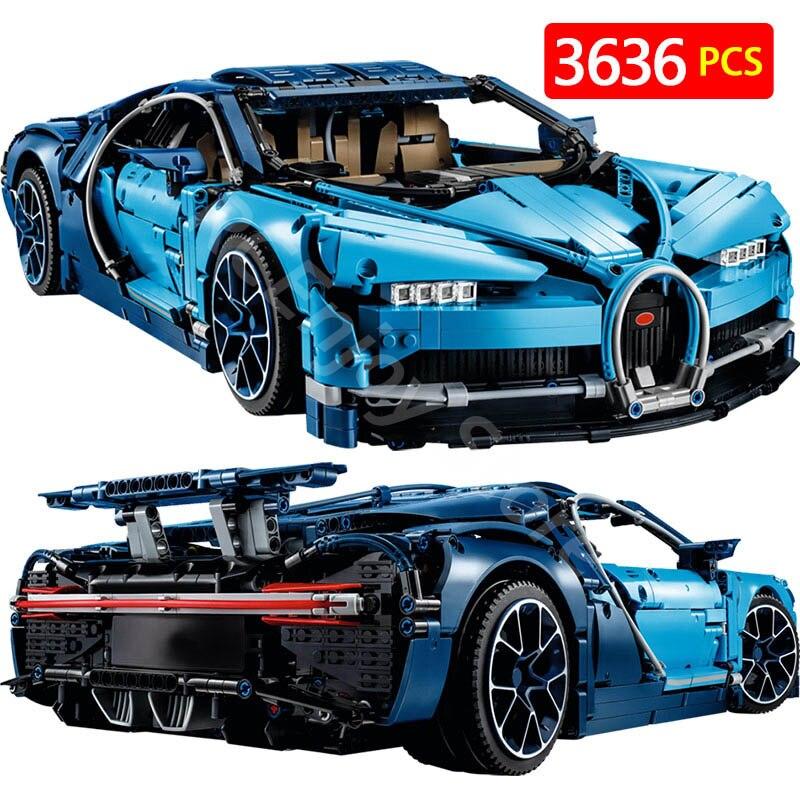 Créateur Compatible avec Legoingly Technique BugattiED Chiron Technik Série Blocs Chiron Bleu Voiture De Course Briques Enfant Jouets 38036