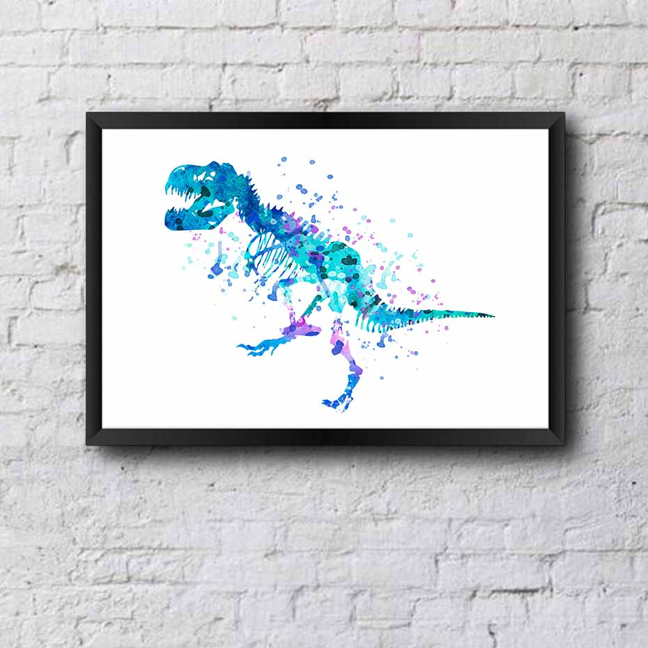 diy original watercolor picture dinosaur poster prints canvas painting modern wall art for kids. Black Bedroom Furniture Sets. Home Design Ideas