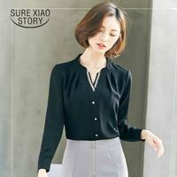 2017 New Spring Hot Sale Female Long Sleeved Chiffon And Blouse Shirt Fashion Coat Temperament V