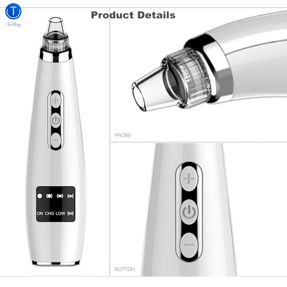 TinWong Blackhead Remover Vacuum,  Electric Facial Comedo Suction Pore Cleaner Extractor Tool,5 Replaceable Suction Heads-in Face Skin Care Tools from Beauty & Health