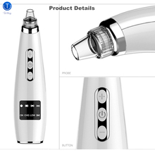 TinWong Blackhead Remover Vacuum,  Electric Facial Comedo Suction Pore Cleaner Extractor Tool,5 Replaceable Heads