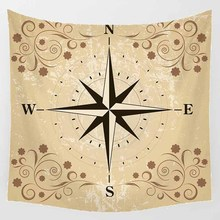 Hot sale square shape compass creative lion feather pattern wall hanging tapestry home decoration tapiz pared