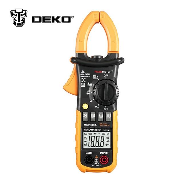 DEKOPRO MS2008A Digital Clamp Multimeter AC / DC Voltage / AC Current / Resistance Tester