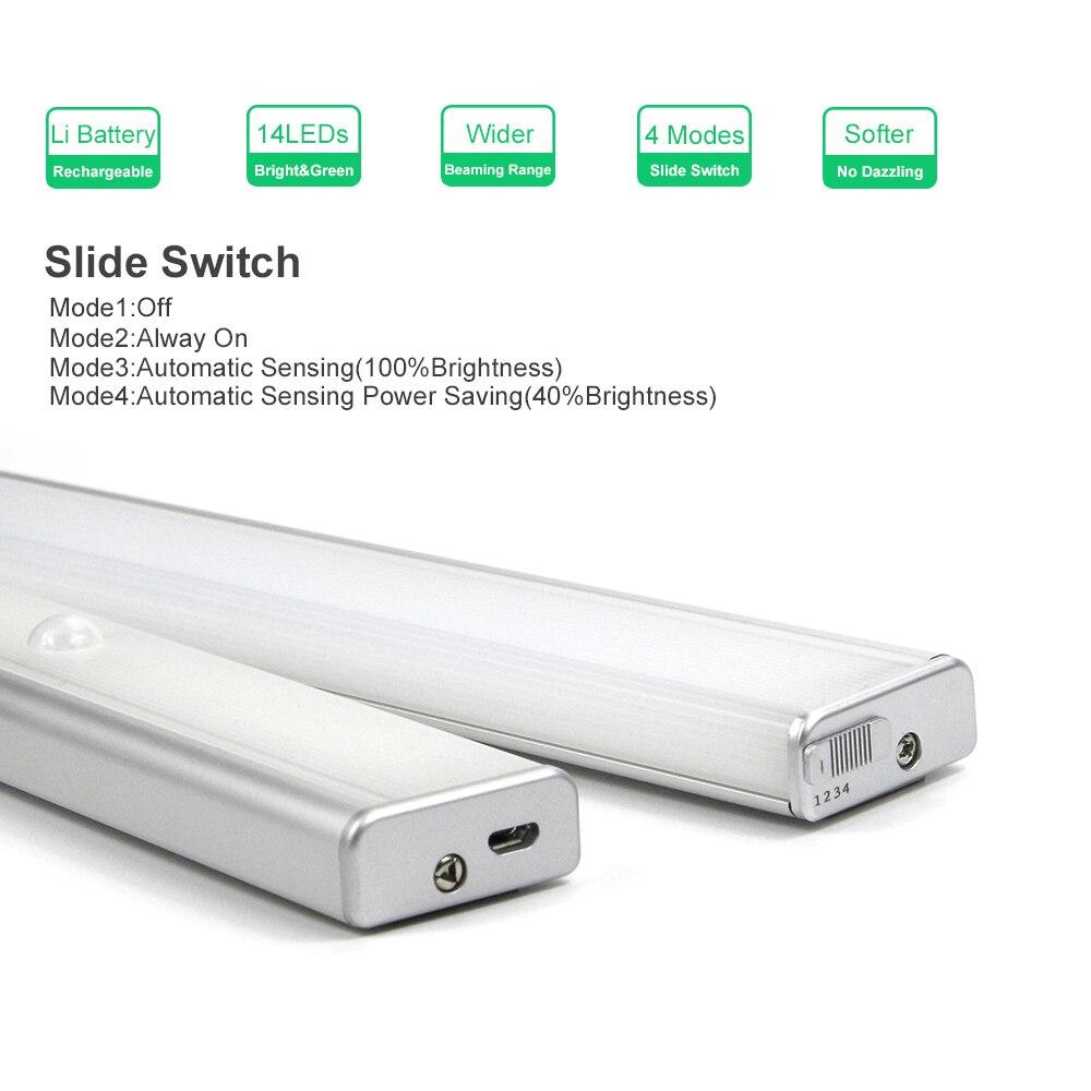 Wireless Motion Sensor LED Light Rechargeable Bright 10 LED 3 Meters Sensing SW