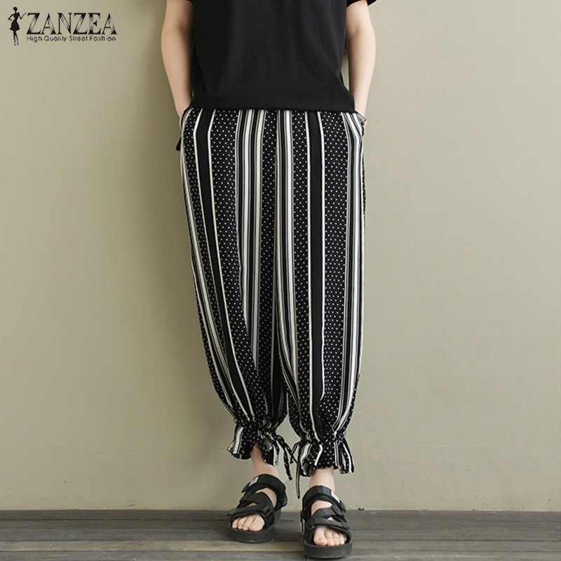 2018 Autumn ZANZEA Women Elastic Waist Striped Harem Trousers Vintage Polka Dot Pants Casual Loose Turnip Pantalon Plus Size