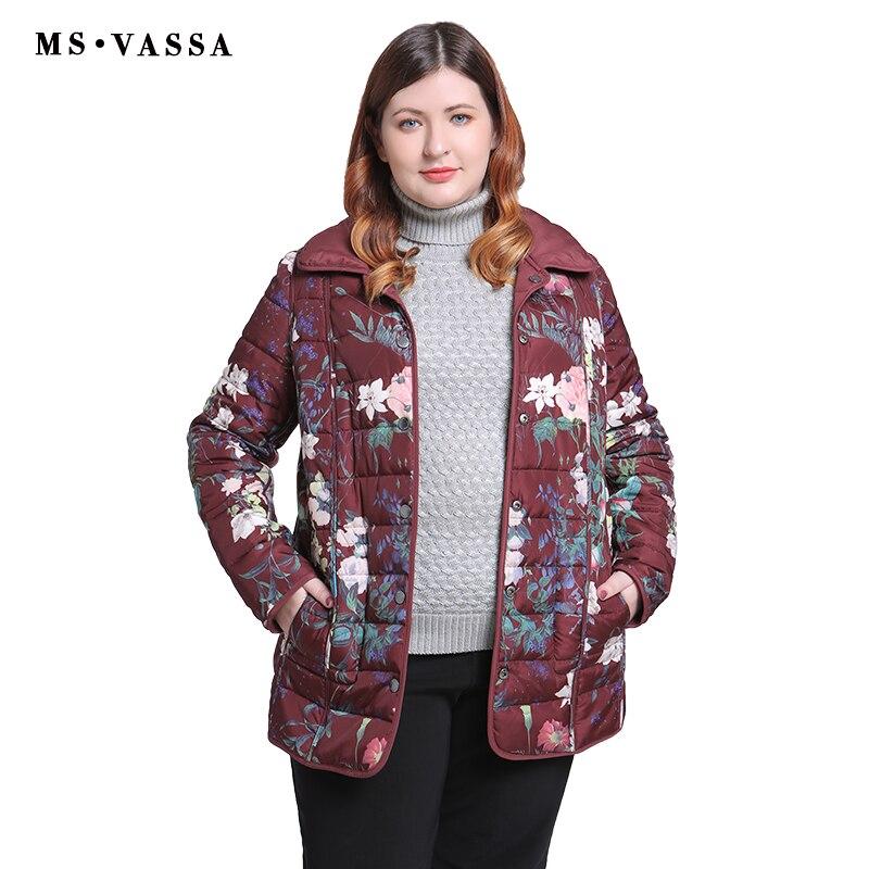 MS VASSA женские куртки 2018 новые осенние зимние женские Реверсивные куртки Большие размеры 5XL 6XL отложной воротник женская верхняя одежда