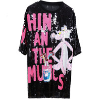 Cute Vogue Ladies Summer Top Sequins Tee Shirt Femme Bling Fashion Long Casual Loose Cartoon Pink Leopard T Shirts