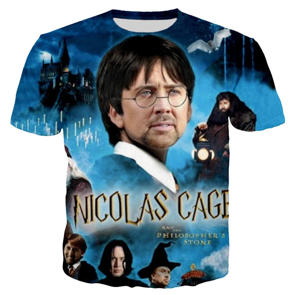 PLstar Cosmos 2018 Summer New Fashion T Shirt Funny Nicolas Cage 3D T Shirt Funny Movie Prints T Shirt Casual Tees XS-7XL