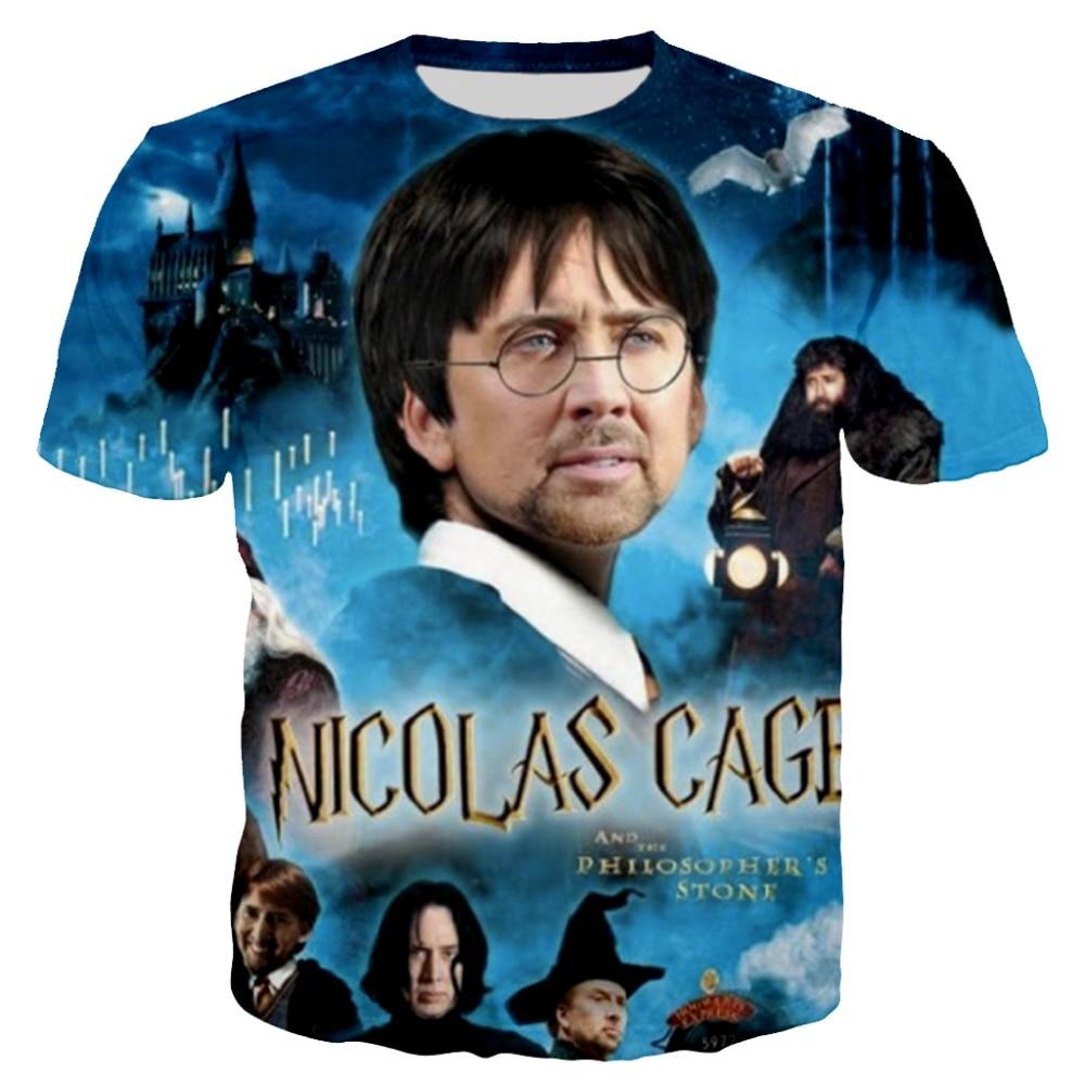 PLstar Cosmos 2018 Summer New Fashion T Shirt Funny Nicolas Cage 3D T Shirt Funny Movie Prints T Shirt Casual Tees XS-7XL