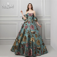 QSYYE 2018 New Saudi Arabia Evening Dresses Puffy Sleeves 3D Print Lace Flower Lace Up Back Sweep Train Satin Long Prom Dress