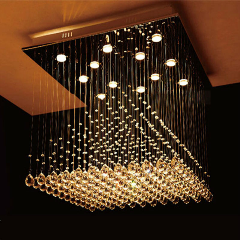 Large Modern Crystal Chandelier Lights Square 800mm Pyramid Shape Luminaire Decoration Er Pendant Lamp Chandeliers For Home In From